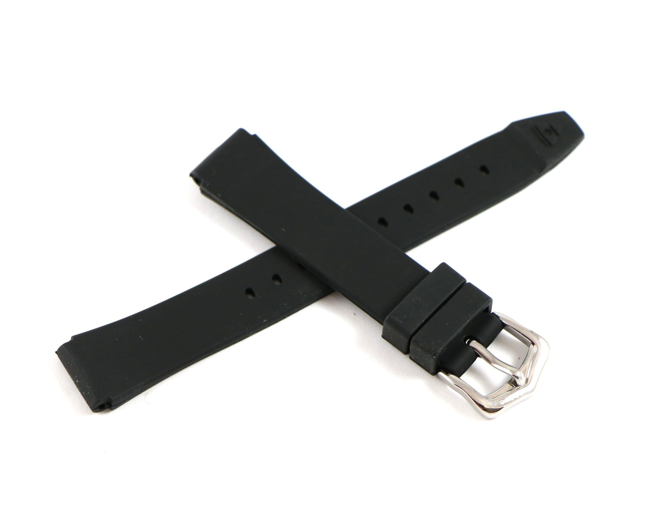 Swiss Legend 16MM Black Rubber Watch Strap & Silver Stainless Buckle fits 35mm Love Connection Watch