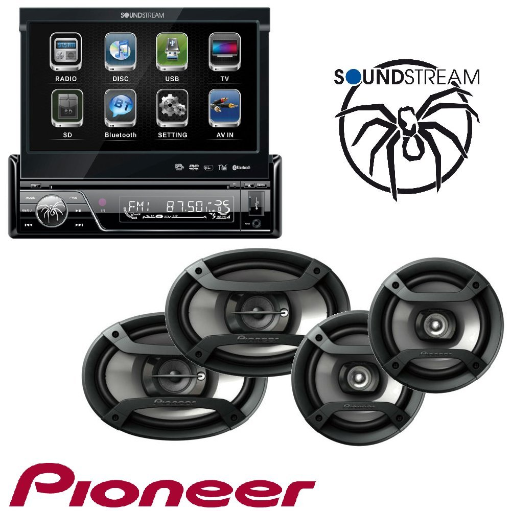 Soundstream VIR-7830B 1 DIN DVD/CD/MP3 Player Flip-Out Up Screen Bluetooth W Pioneer TS-165P + TS-695P Two Pairs 200W 6.5'' + 230W 6x9'' Car Audio 4 Ohm Component Speakers by Cache, Soundstream, Pioneer (Image #1)