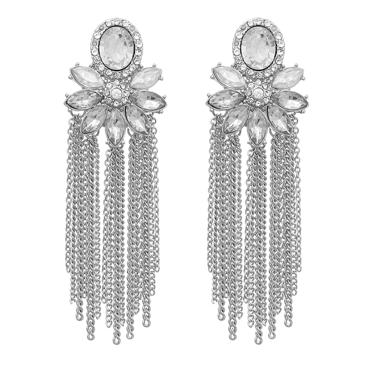 MYS Collection Oval Shape Top Chain Tassel Earrings (Silver)