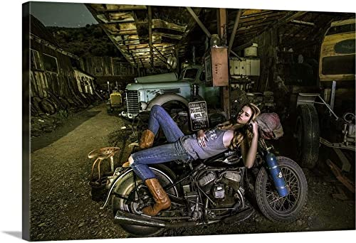 Blonde Girl Laying on an Old Harley Davidson Canvas Wall Art Print