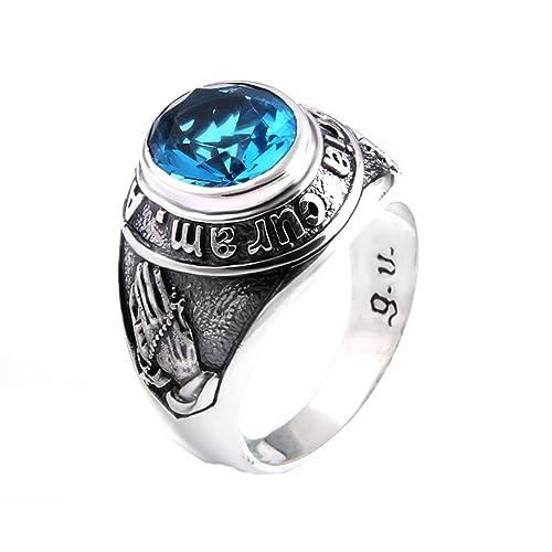 AmDxD Joyería Plata de ley 925 Anillos de Boda para Hombre Azul Cristal Manos Orando Anillo