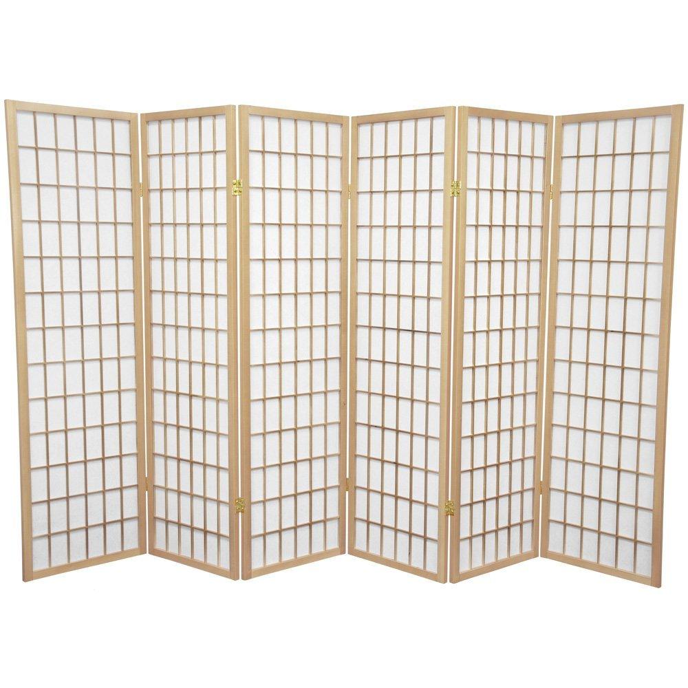 Oriental Furniture 5 ft. Tall Window Pane Shoji Screen - Natural - 6 Panels