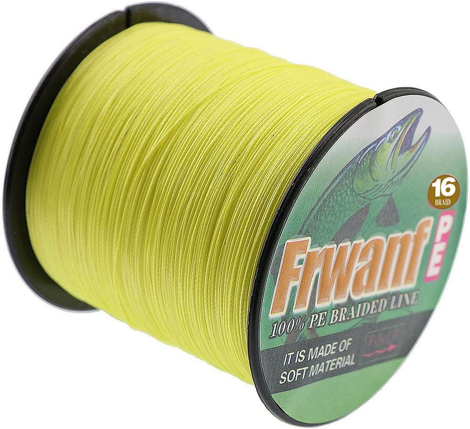 Frwanf Hollow Core Braided Fishing Line 300M 328Yards – 16 Strands PE Fishing String Multifilament Wire Fishingline Super Strong UltraSensitive Small Diameter Low Memory