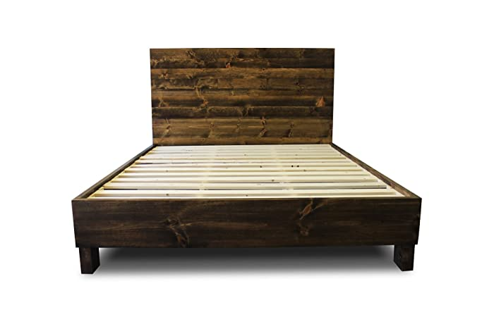 Amazoncom Farmhouse Bed Frame and Headboard Set Reclaimed