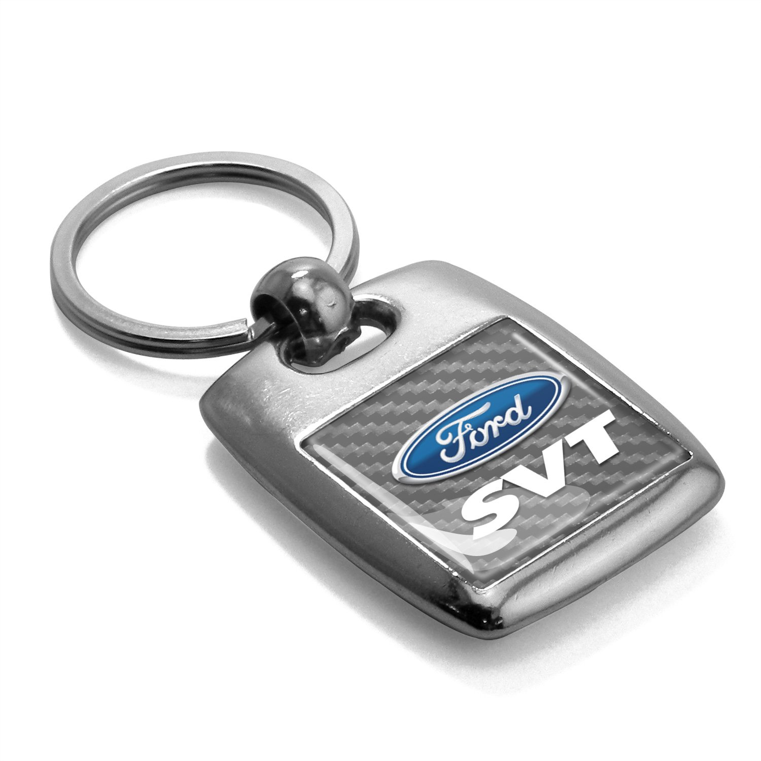 Made in USA Ford SVT Silver Carbon Fiber Backing Brush Metal Key Chain