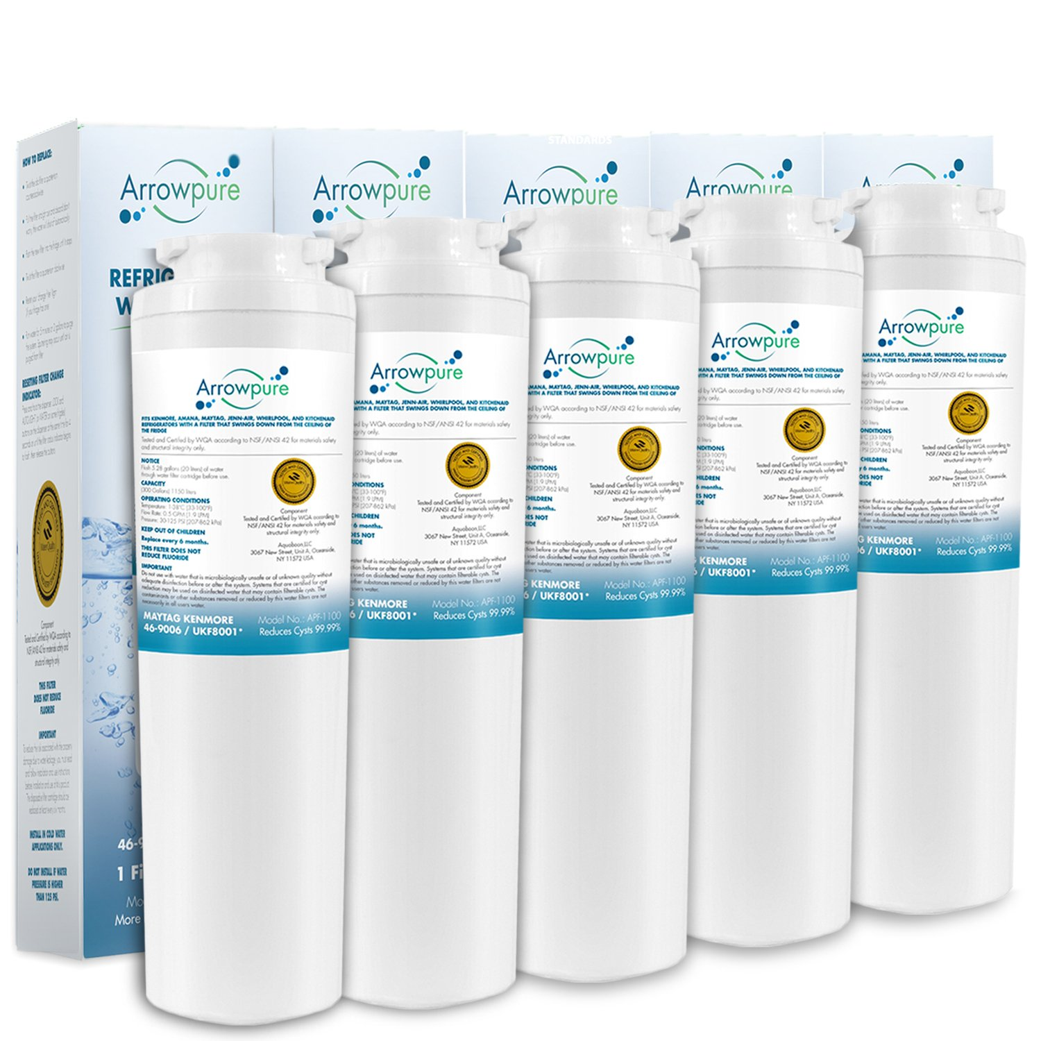 5 Pack Refrigerator Water Filter Replacement by Arrowpure | Certified According to NSF 42&372 | Compatible with Maytag UKF8001, UKF8001AXX, UKF8001P, EDR4RXD1, 4396395, Puriclean II, Kenmore