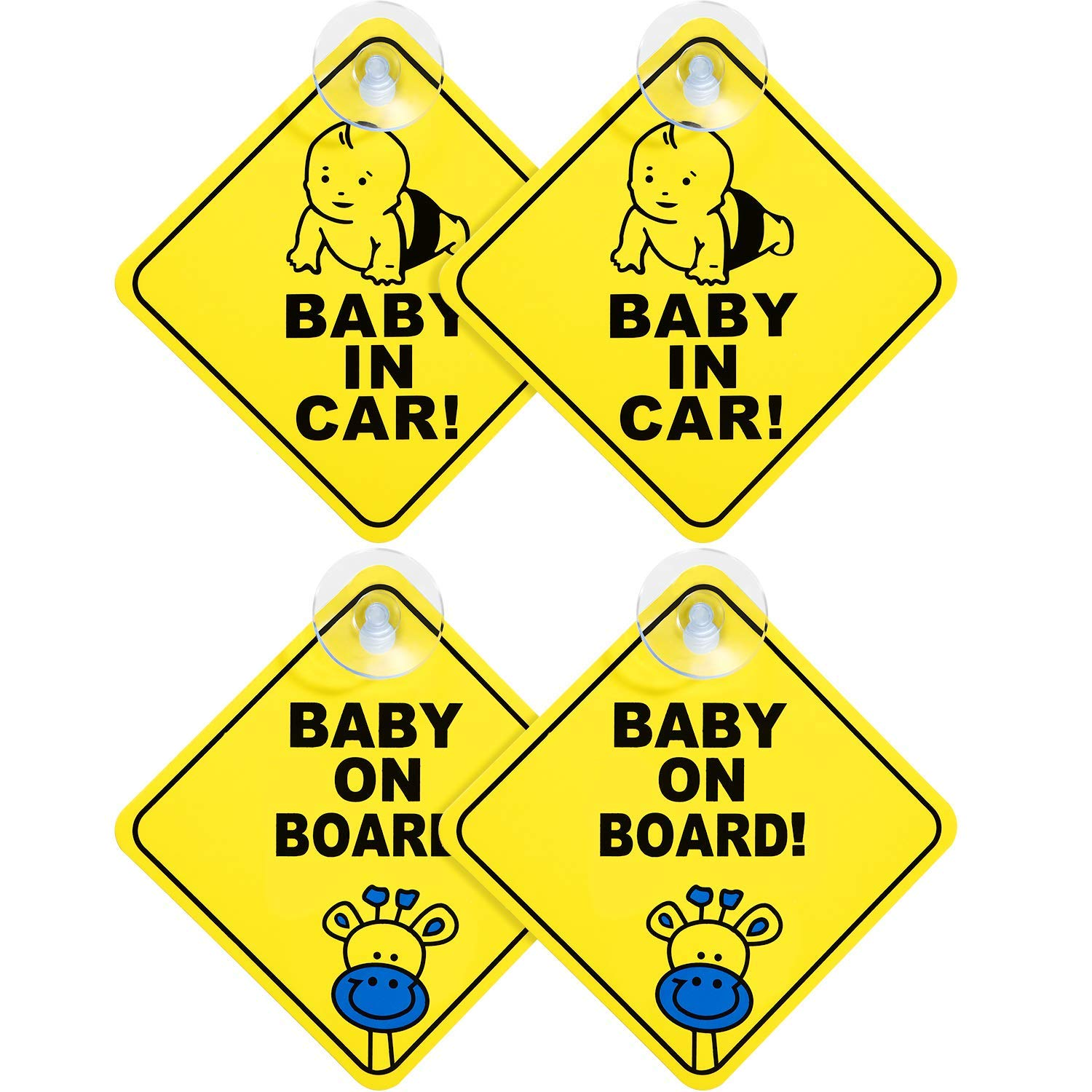 KOSTOO Baby on Board Sign for Car, 4pcs Thicken Kids Safety Warning Sucker Reflective Sticker for Driver, No Fade, Heat Resistant, Removable