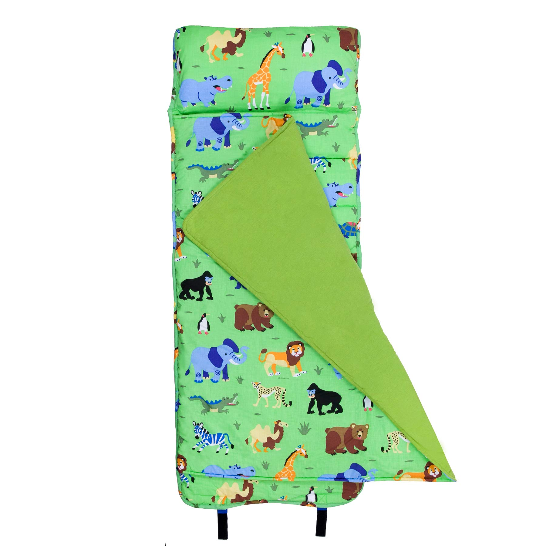 Original Nap Mat Olive Kids by Wildkin Children's Original Nap Mat with Built in Blanket and Pillowcase Pillow Insert Included Premium Cotton and Microfiber Blend Ages 3-7 years Wild Animals