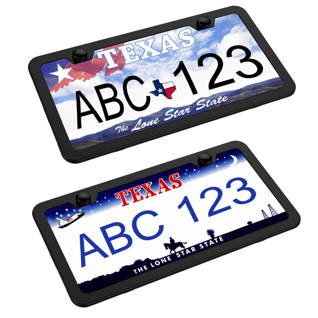 Benvo License Plate Frames 2 Pcs Stainless Steel Car Licence Plate Covers Slim Bracket with Screw Caps for US Standard-Wont Block Letters