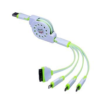 Multi Cargador, Retráctil 4 en 1 USB de Carga Múltiple Conector del Cable del Adaptador con tipo C / 8 Pin Iluminación / 30 Pin / Micro puertos USB ...