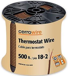 CERRO 210-1002J2 500-Feet 18/2 Thermostat Brown Wire, 500-Foot, 18-Gauge, 2 Ground