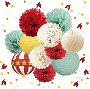 NICROLANDEE Carnival Circus Party Decorations - Tissue Pom Poms Paper Lantern Glitter Party Confetti 30G Party Supplies for Wedding Birthday Bridal Shower Baby Shower Backdrop (Retro Circus)