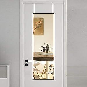 BEAUTYPEAK Full Length Mirror 16'' x 50'' Aluminum Alloy Over The Door Mirror Large Hanging Mirrors Wall Mounted Body Dressing for Bedroom, Living Room, Bathroom, Dorm Home Decor, Black