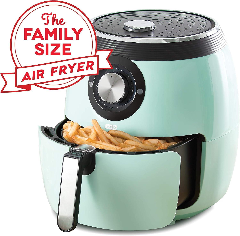 Dash DFAF455GBAQ01 Deluxe Electric Air Fryer Oven Cooker with Temperature Control, Non Stick Fry Basket, Recipe Guide Auto Shut Off Feature, 6 qt, Aqua