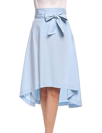 fde2166e39ca4 Zeagoo(ジアグー) スカート ひざ丈 花柄 フレアスカート 春夏 Aライン イレヘム