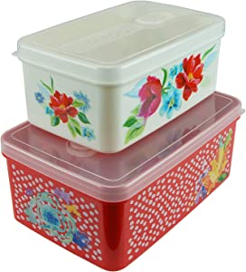 QG 68 & 40oz Rectangular Plastic Food Storage Containers with Lids BPA Free - 2 Pieces Red & White with Pattern