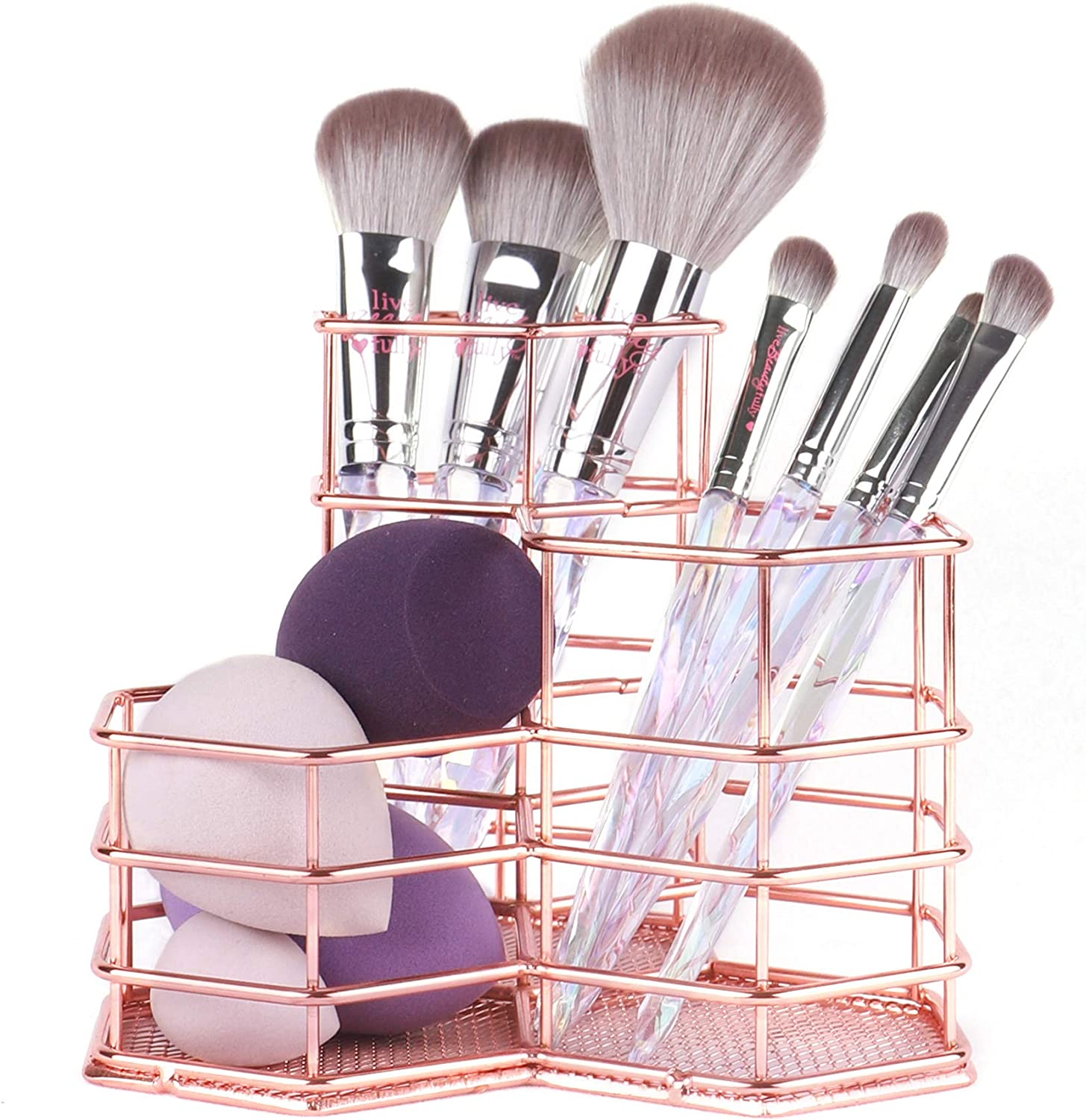 ANNE'S GIVERNY Makeup Brush Holder Metal Organizer Golden Rose Cosmetic Storage Beauty Sponges Blender holder Display