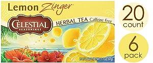 Celestial Seasonings Herbal Tea, Lemon Zinger, 20Count (Pack of 6)