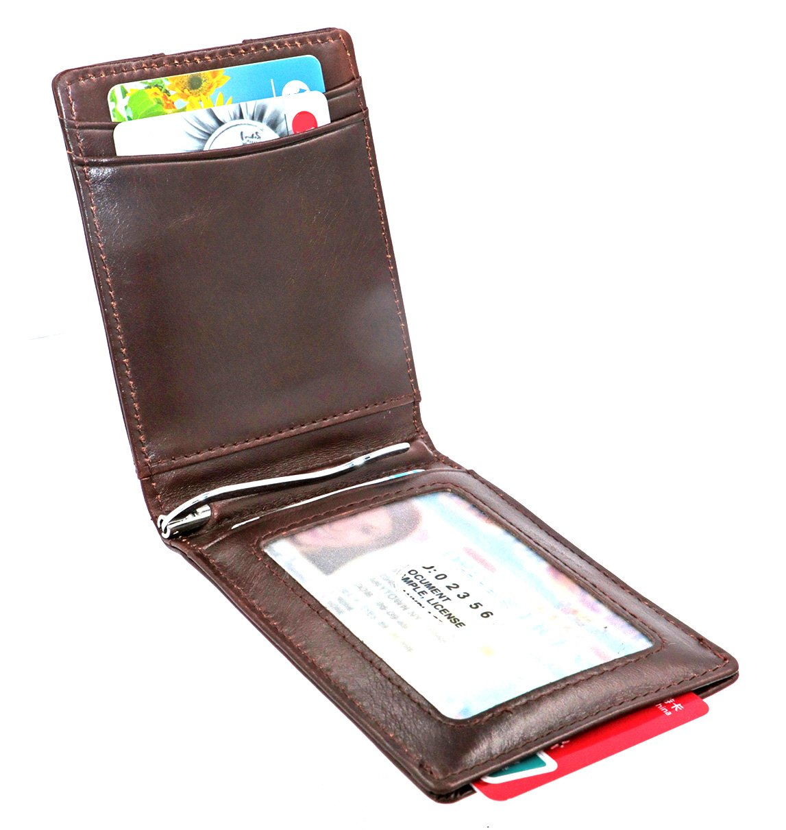 Slim men Card holder Wallets - Minimalist Bifold Front Pocket Genuine Leather Cash Money Clip RFID block (Brown)