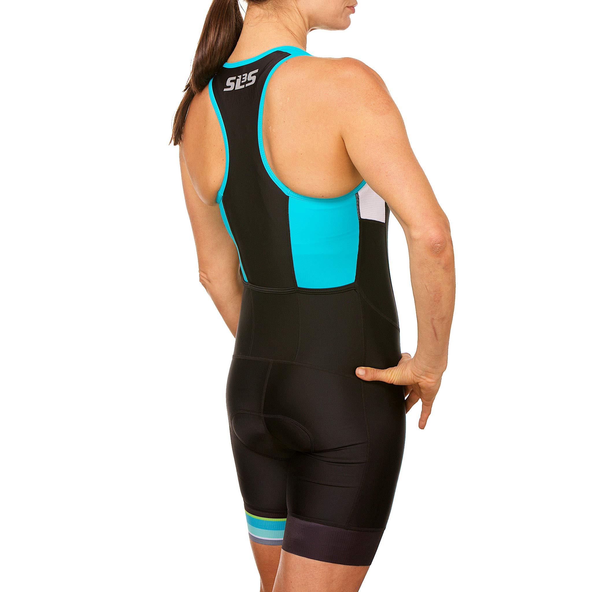 SLS3 Women`s Triathlon Tri Race Suit FRT | Womens Trisuit | Back Pocket Triathlon Suits | Anti-Friction Seams | German Designed (Black/Martinica Blue, XS) by SLS3 (Image #5)
