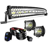 "TURBOSII DOT 32/30 Inch Curved Led Light Bar Offroad Spot Flood Combo Beam w/4"" Pods Cube Driving Fog lights On Bumper…"