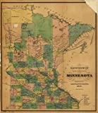 Vintage 1874 Map of Township and railroad map of Minnesota published for the Legislative Manual, 1874. Detailed map showing relief by hachures, drainage, cities and towns, township and county boundaries, and the railroad network. Minnesota, United States