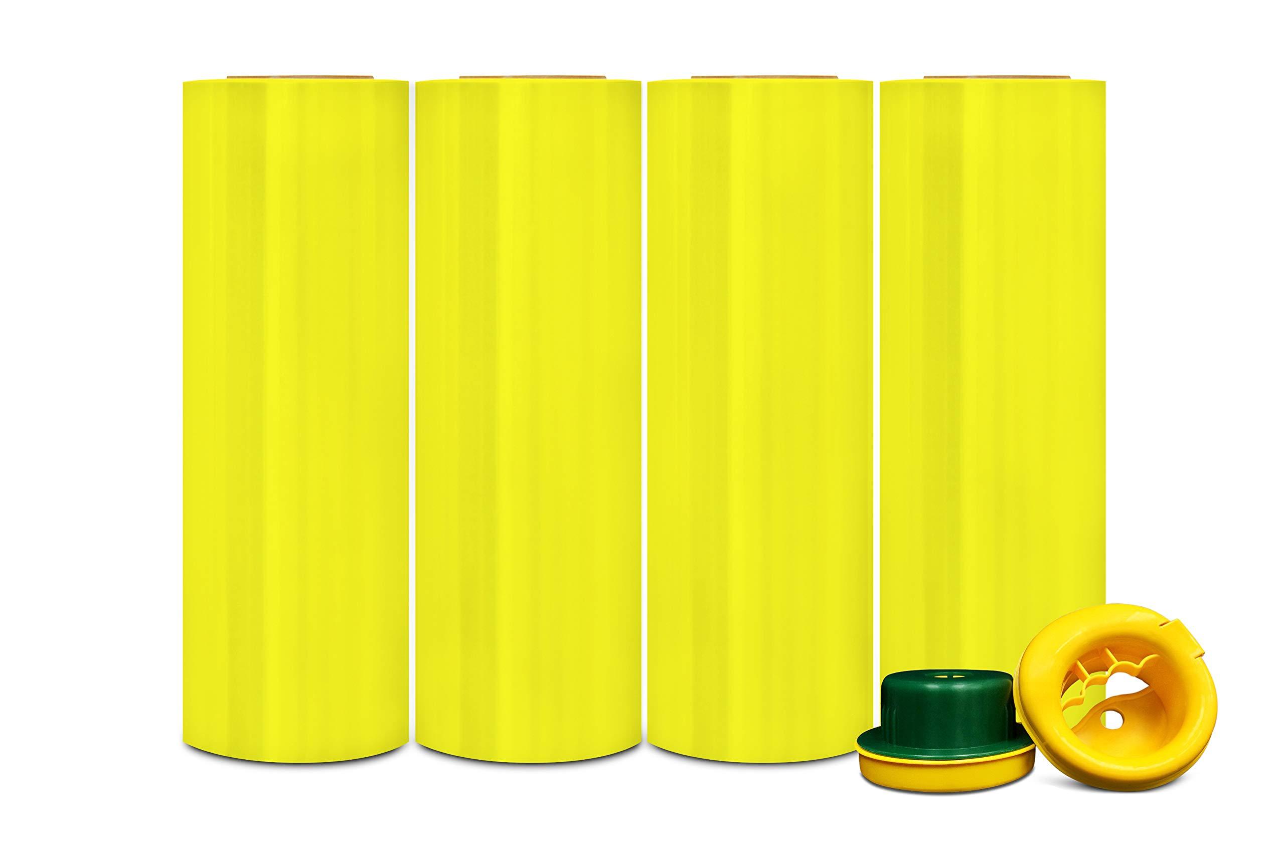 Yellow Pre-Stretch Film Hand Stretch Wrap 17'' x 1476' 8 Mic. (32 Gauge) 4 Rolls + Hand Saver by PackagingSuppliesByMail