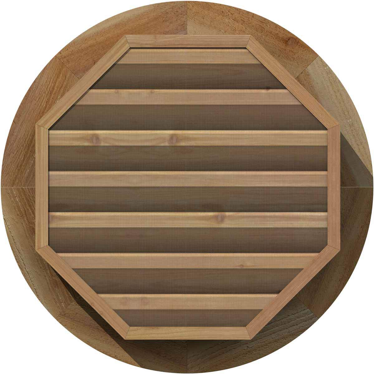 Ekena Millwork GVWRO20X2000RFUWR Unfinished 20-Inch x 20-Inch Rough Sawn Western Red Cedar with Brick Mould Face Round Gable Vent 25-Inch x 25-Inch Frame Size Functional