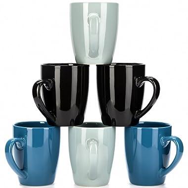 Blue Coffee Mug Set - Hand Made Stoneware Ceramic - by LVKH (12.5 oz, 6 pieces)