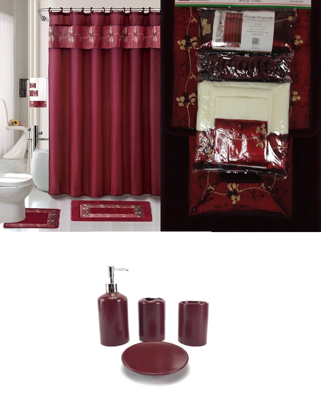 Amazon 22 Piece Bath Accessory Set Burgundy Red Rug Shower Curtain Accessories Home Kitchen