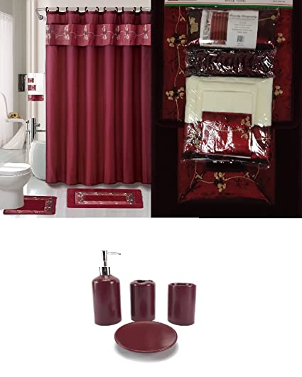 22 Piece Bath Accessory Set Burgundy Red Rug Shower Curtain Accessories