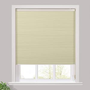 TWOPAGES Custom Made with Cord Cellular Shades for Window, Single Cell Blackout Shades for Home, Beige