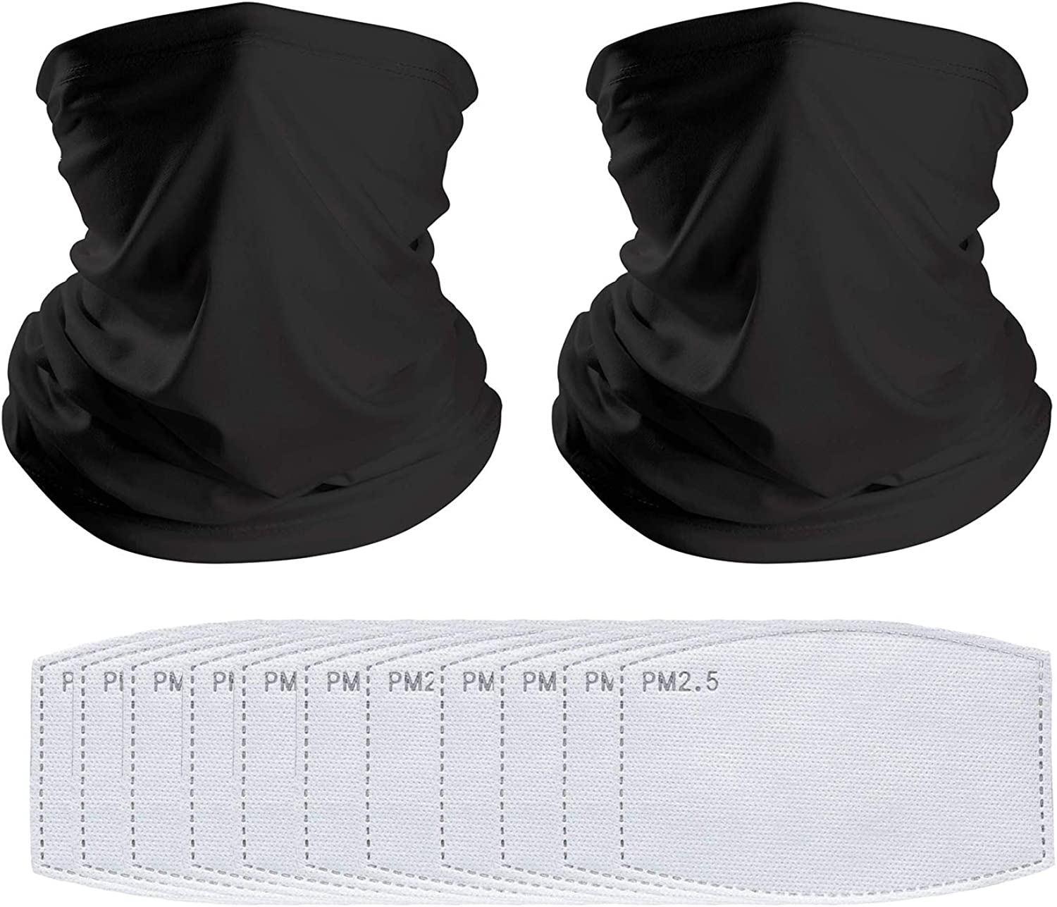 NiUB5 Neck Gaiter Multi-Purpose Bandana Balaclava Face Covering Headwear with PM 2.5 Activated Carbon Filter for Outdoor Sports Unisex Set of 10 PCS Filters + 2 PCS Necks Gaiter (Black)