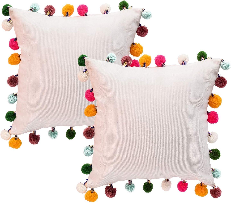 NSSONBEN White Pom Pom Pillow Covers - Soft Velvet Decorative Cushion Cases for Couch Home 16 x 16 Inch Set of 2 (White)