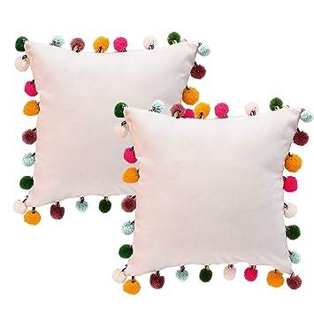 Amazon.com: NSSONBEN - Fundas de almohada con pompones de ...