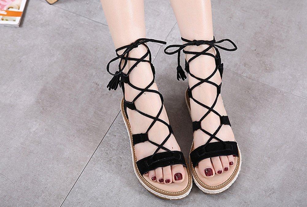 LJO Damen Sandalen Flache Ferse Kreuz Bandagen Sommer Runde Kopf Mode Asakuchi Schuhe,B,UK/EU37