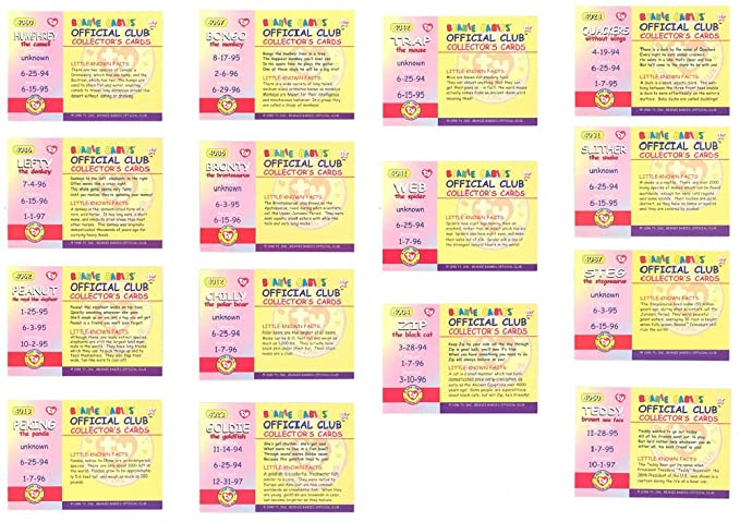 f830430314f Amazon.com  TY Beanie Babies BBOC Cards - Series 1 Retired (RED) - COMPLETE  SET of 15  Toys   Games