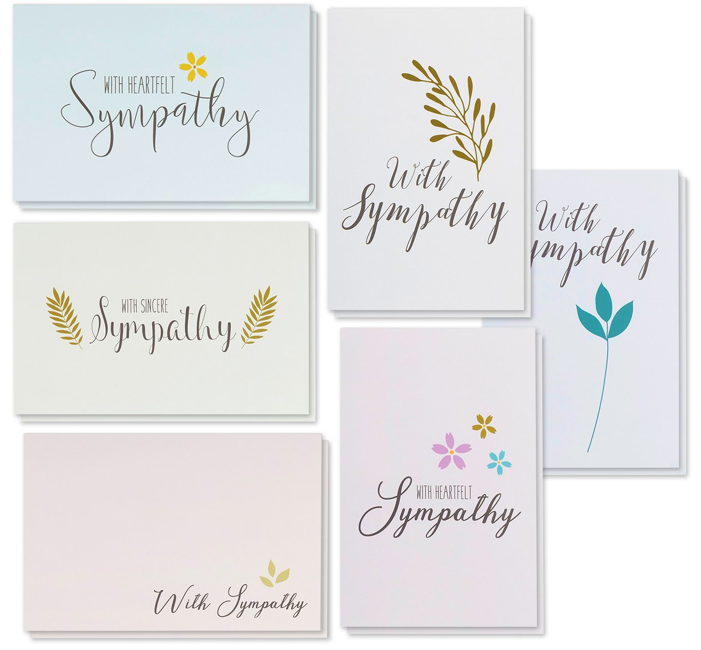 Sympathy Cards - 48-Pack Sympathy Cards Bulk, Greeting Cards Sympathy, 6 Floral Foliage Designs, Envelopes Included, Assorted Sympathy Cards, 4 x 6 inches