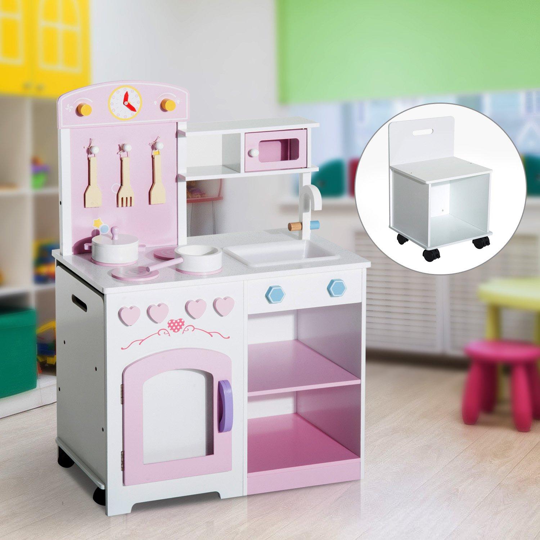 Hom Kinderküche Spielküche Kinderspielküche mit Zubehör Hocker