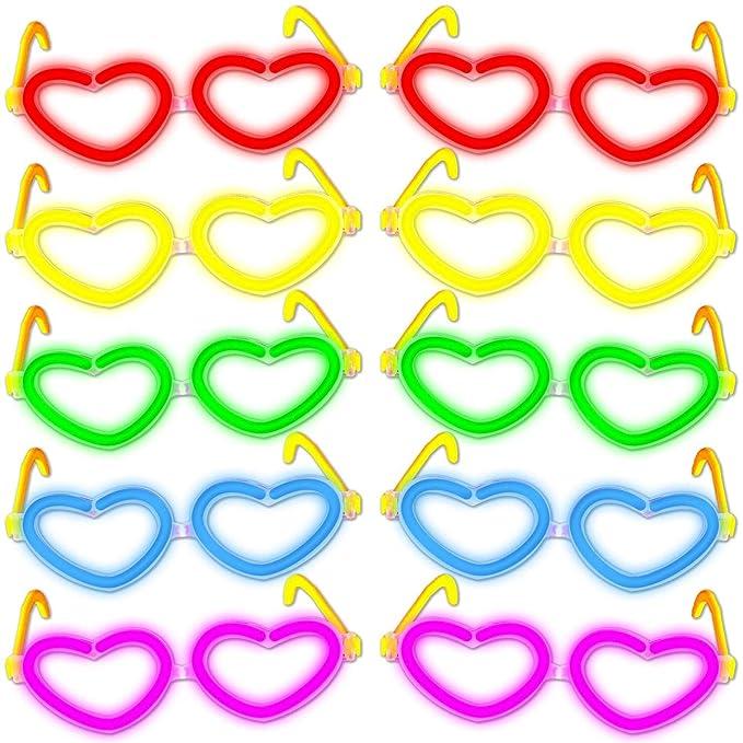Pack de 10 gafas luminosas con forma de corazon para disfraz neón