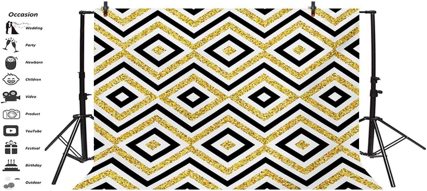 Geometric 8x6 FT Vinyl Photography Backdrop Motif of Zig Zag and Squares Contemporary Design Art Print Background for Baby Birthday Party Wedding Studio Props Photography