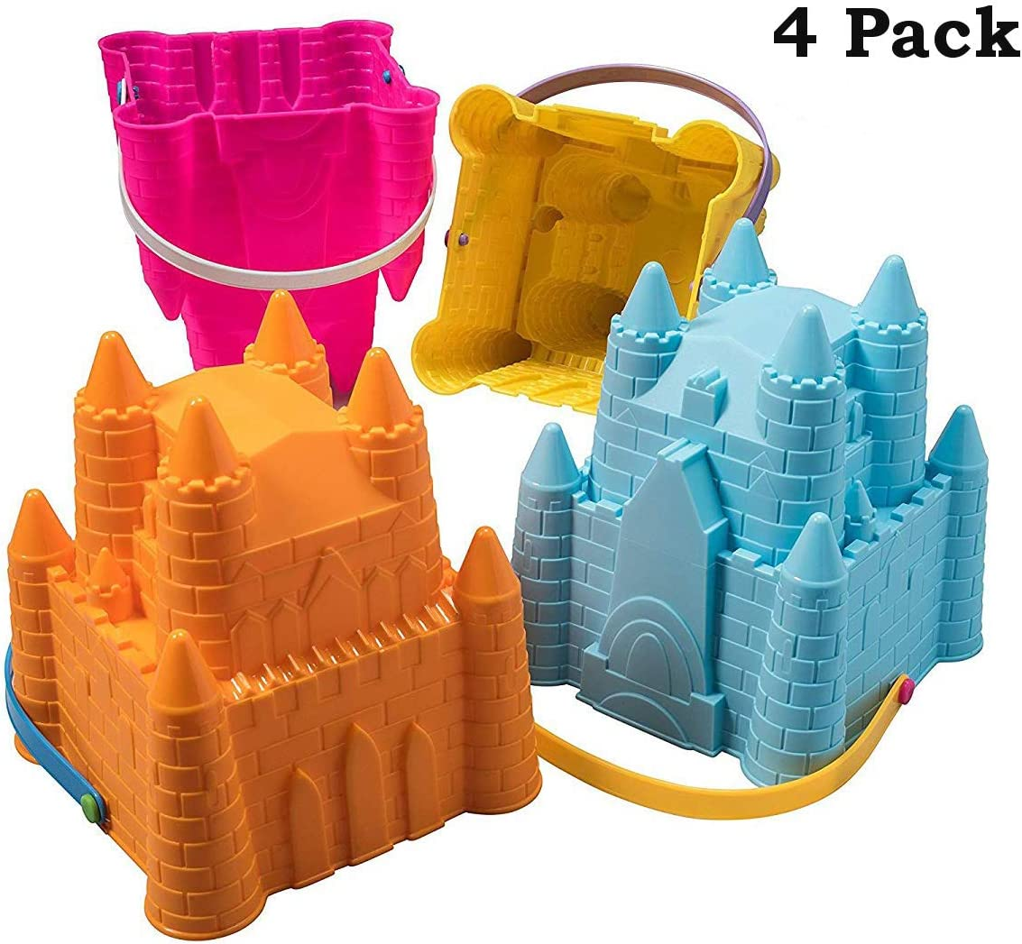 Sand Castle Building Kit, Beach Toys, Beach Bucket, Sand Castle Molds for Kids, Gift Toy for Ages 1 2 3 4 5 6 7 8 9, Older Kids and Toddlers, Sandcastle Building Kit Pail for Kids: Toys & Games