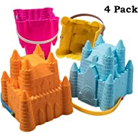 Sand Castle Building Kit, Beach Toys, Beach Bucket, Sand Castle Molds for Kids, Gift Toy for Ages 1 2 3 4 5 6 7 8 9, Older Kids and Toddlers, Sandcastle Building Kit Pail for Kids