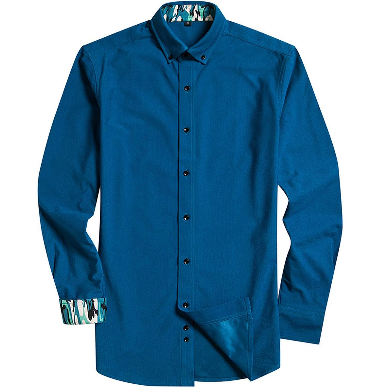 Mens Long Sleeved Business Casual Shirt Black Button 100/% Polyester Fiber