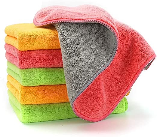 Microfiber Cleaning Cloth 50 Pack Super Absorbent Streak Free Low Lint Dust Cloth by Green Lifestyle