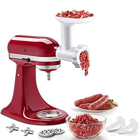 Food Meat Grinder Attachments for KitchenAid Stand Mixers, Durable Meat  Grinder, Sausage Stuffer Attachment Compatible with All KitchenAid Stand ...