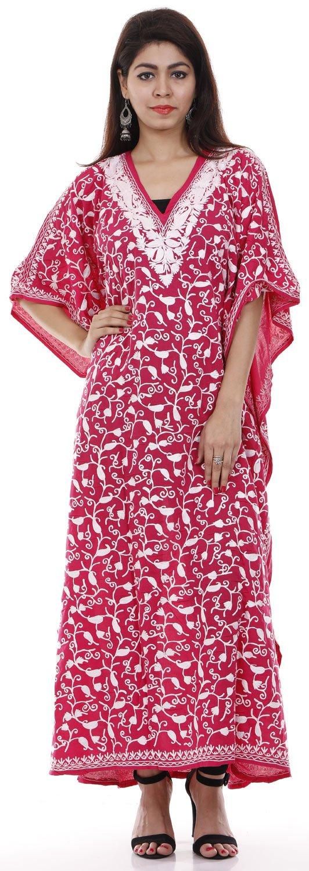 Creativegifts Cotton Kashmiri Kaftan Maxi Dress Beachwear Cover Up Aari Work Paisley Design + Fearther Earrings (#539)