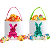 Amazon Price History for:Easter Bunny Basket for Kids - Easter Tote Bag with Handle for Egg Hunting, Party, Toys, Candy, Canvas Cotton Rabbit…
