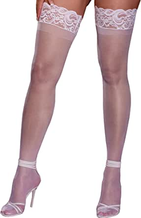 amazon com dreamgirl queen size white stay up stockings