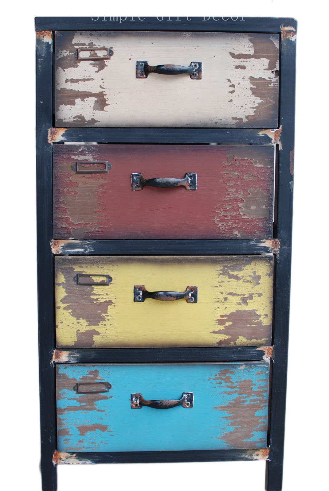 Attraction Design (31HX15.5LX11.5W Inches) Wood Antique 4-Drawer, Multicolor